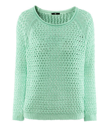 Jumper - neckline: round neck; pattern: plain; style: standard; predominant colour: mint green; occasions: casual, work; length: standard; fibres: acrylic - 100%; fit: standard fit; sleeve length: long sleeve; sleeve style: standard; texture group: knits/crochet; pattern type: knitted - other; season: s/s 2013