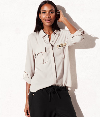 Blouse - neckline: shirt collar/peter pan/zip with opening; pattern: plain; bust detail: added detail/embellishment at bust; style: blouse; predominant colour: stone; occasions: casual, evening, work; length: standard; fibres: polyester/polyamide - 100%; fit: loose; sleeve length: 3/4 length; sleeve style: standard; texture group: crepes; pattern type: fabric; season: s/s 2013
