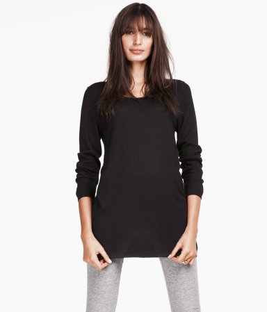 Jumper - neckline: round neck; length: below the bottom; style: standard; predominant colour: black; occasions: casual, work; fibres: cotton - mix; fit: loose; sleeve length: long sleeve; sleeve style: standard; texture group: knits/crochet; pattern type: knitted - fine stitch; pattern size: standard; season: s/s 2013