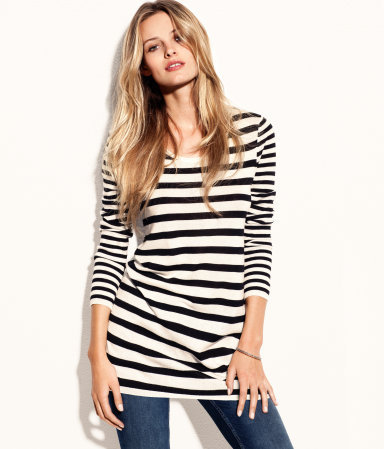 Jumper - neckline: round neck; pattern: horizontal stripes, striped; length: below the bottom; style: standard; predominant colour: black; occasions: casual, work; fibres: cotton - mix; fit: loose; sleeve length: long sleeve; sleeve style: standard; texture group: knits/crochet; pattern type: knitted - other; pattern size: standard; season: s/s 2013