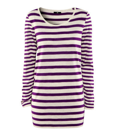 Jumper - neckline: round neck; pattern: horizontal stripes, striped; length: below the bottom; style: standard; predominant colour: purple; occasions: casual, work; fibres: cotton - mix; fit: loose; sleeve length: long sleeve; sleeve style: standard; texture group: knits/crochet; pattern type: fabric; pattern size: standard; season: s/s 2013
