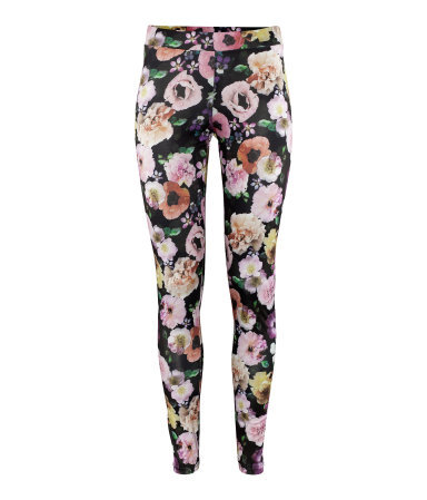Leggings - length: standard; style: leggings; waist detail: elasticated waist; waist: mid/regular rise; predominant colour: black; occasions: casual, evening; fibres: polyester/polyamide - stretch; texture group: jersey - clingy; trends: high impact florals; fit: skinny/tight leg; pattern type: fabric; pattern: florals; season: s/s 2013; pattern size: big & busy (bottom)