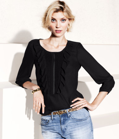 Blouse - neckline: round neck; pattern: plain; style: blouse; predominant colour: black; occasions: casual, evening, work; length: standard; fibres: polyester/polyamide - 100%; fit: straight cut; waist detail: adds bulk at the waist; sleeve length: 3/4 length; sleeve style: standard; texture group: sheer fabrics/chiffon/organza etc.; pattern type: fabric; season: s/s 2013; wardrobe: basic