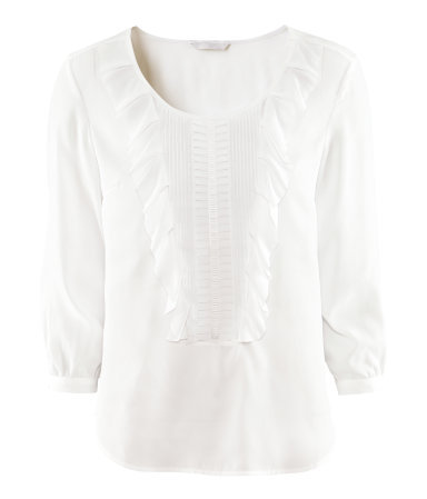 Blouse - neckline: round neck; pattern: plain; style: blouse; predominant colour: white; occasions: casual, evening, work; length: standard; fibres: polyester/polyamide - 100%; fit: straight cut; sleeve length: 3/4 length; sleeve style: standard; texture group: sheer fabrics/chiffon/organza etc.; pattern type: fabric; season: s/s 2013; wardrobe: basic