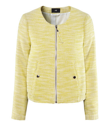 Jacket - collar: round collar/collarless; fit: loose; hip detail: fitted at hip, added detail/embellishment at hip, ruching/gathering at hip, front pockets at hip; pattern: herringbone/tweed; style: bomber; predominant colour: primrose yellow; occasions: casual, evening, work, holiday; length: standard; fibres: cotton - mix; bust detail: contrast pattern/fabric/detail at bust; sleeve length: long sleeve; sleeve style: standard; trends: metallics; collar break: high; pattern type: fabric; pattern size: light/subtle; texture group: woven light midweight; season: s/s 2013
