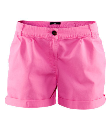 Shorts - pattern: plain; pocket detail: small back pockets; waist: mid/regular rise; predominant colour: pink; occasions: casual; fibres: cotton - 100%; waist detail: narrow waistband; texture group: cotton feel fabrics; pattern type: fabric; season: s/s 2013; pattern size: standard (bottom); style: shorts; length: short shorts; fit: slim leg