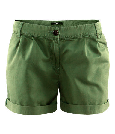 Shorts - pattern: plain; pocket detail: small back pockets, pockets at the sides; waist: mid/regular rise; predominant colour: dark green; occasions: casual; fibres: cotton - 100%; waist detail: feature waist detail; texture group: cotton feel fabrics; pattern type: fabric; season: s/s 2013; pattern size: standard (bottom); style: shorts; length: short shorts; fit: slim leg; wardrobe: highlight