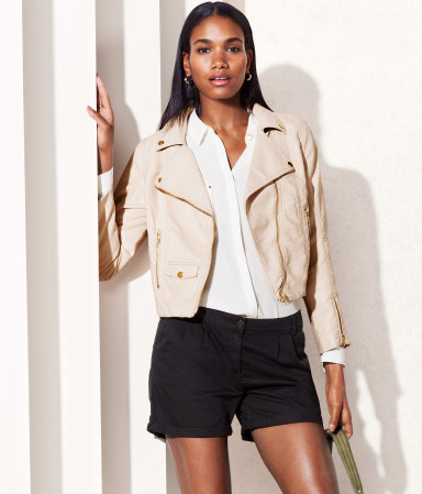 Jacket - pattern: plain; style: biker; bust detail: added detail/embellishment at bust; collar: asymmetric biker; predominant colour: blush; occasions: casual, evening, work; fit: straight cut (boxy); fibres: polyester/polyamide - 100%; waist detail: fitted waist; sleeve length: long sleeve; sleeve style: standard; texture group: leather; collar break: medium; pattern type: fabric; season: s/s 2013; hip detail: front pockets at hip; length: cropped