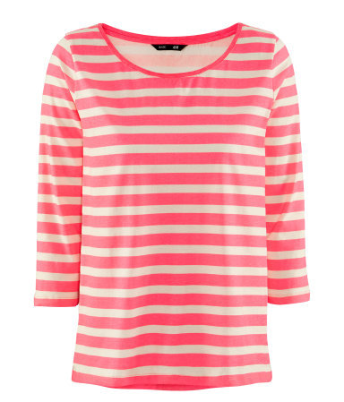 Top - neckline: round neck; pattern: horizontal stripes, striped; style: t-shirt; predominant colour: pink; occasions: casual, work; length: standard; fibres: cotton - 100%; fit: straight cut; sleeve length: 3/4 length; sleeve style: standard; pattern type: fabric; pattern size: standard; texture group: jersey - stretchy/drapey; season: s/s 2013