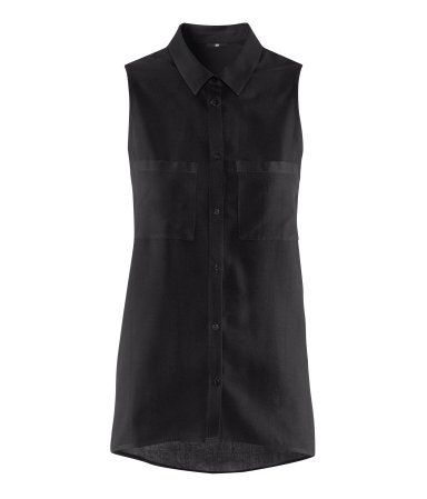 Blouse - neckline: shirt collar/peter pan/zip with opening; pattern: plain; sleeve style: sleeveless; style: shirt; bust detail: pocket detail at bust, buttons at bust (in middle at breastbone)/zip detail at bust; predominant colour: black; occasions: casual, work; length: standard; fibres: polyester/polyamide - 100%; fit: loose; sleeve length: sleeveless; texture group: crepes; pattern type: fabric; season: s/s 2013