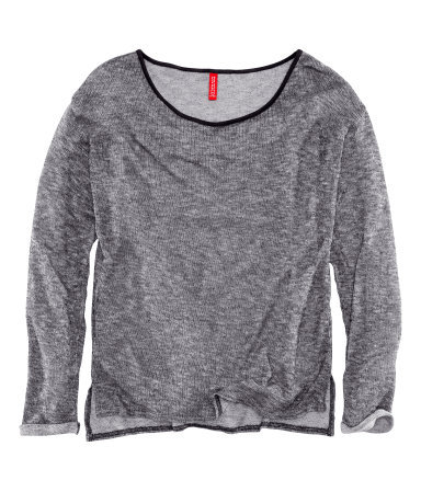 Jumper - neckline: round neck; style: standard; predominant colour: mid grey; occasions: casual; length: standard; fibres: polyester/polyamide - stretch; fit: standard fit; sleeve length: long sleeve; sleeve style: standard; texture group: knits/crochet; pattern type: knitted - other; season: s/s 2013