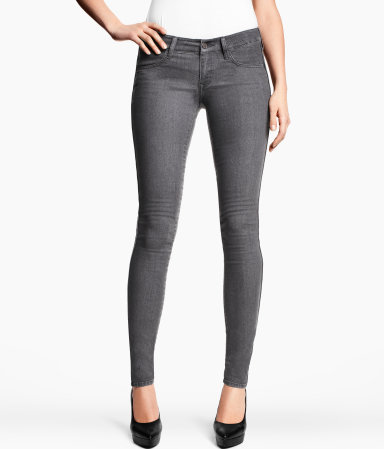 Skinny Low Jeans - style: skinny leg; length: standard; pattern: plain; waist: low rise; pocket detail: traditional 5 pocket; predominant colour: charcoal; occasions: casual; fibres: cotton - stretch; jeans detail: dark wash; texture group: denim; pattern type: fabric; season: s/s 2013