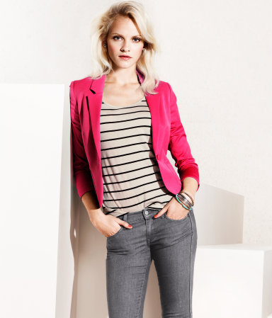 Jacket - pattern: plain; style: single breasted blazer; fit: slim fit; collar: standard lapel/rever collar; predominant colour: hot pink; occasions: casual, evening, work; length: standard; fibres: cotton - mix; sleeve length: long sleeve; sleeve style: standard; collar break: low/open; pattern type: fabric; pattern size: standard; texture group: other - light to midweight; season: s/s 2013