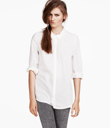 Blouse - neckline: shirt collar/peter pan/zip with opening; pattern: plain; length: below the bottom; style: shirt; bust detail: buttons at bust (in middle at breastbone)/zip detail at bust; predominant colour: white; occasions: casual, work; fibres: cotton - 100%; fit: body skimming; sleeve length: 3/4 length; sleeve style: standard; texture group: cotton feel fabrics; pattern type: fabric; season: s/s 2013