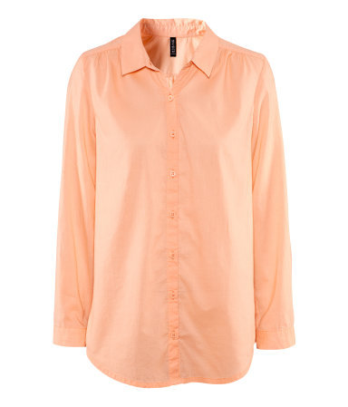 Blouse - neckline: shirt collar/peter pan/zip with opening; pattern: plain; length: below the bottom; style: blouse; predominant colour: coral; occasions: casual, work; fibres: cotton - 100%; fit: straight cut; sleeve length: long sleeve; sleeve style: standard; pattern type: fabric; pattern size: standard; texture group: other - light to midweight; season: s/s 2013