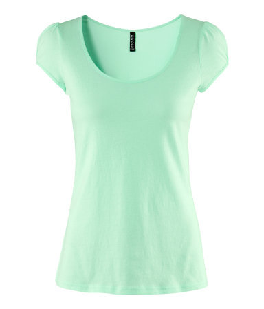 Top - neckline: scoop neck; sleeve style: capped; pattern: plain; style: t-shirt; predominant colour: pistachio; occasions: casual, work; length: standard; fibres: cotton - 100%; fit: body skimming; sleeve length: short sleeve; pattern type: fabric; pattern size: standard; texture group: jersey - stretchy/drapey; season: s/s 2013