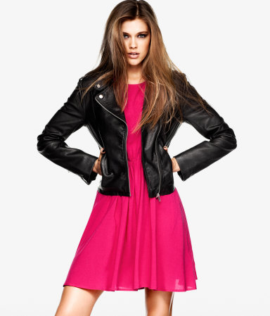Jacket - pattern: plain; style: biker; collar: asymmetric biker; predominant colour: black; occasions: casual, evening, work; length: standard; fit: tailored/fitted; fibres: polyester/polyamide - 100%; sleeve length: long sleeve; sleeve style: standard; texture group: leather; collar break: medium; pattern type: fabric; pattern size: standard; season: s/s 2013