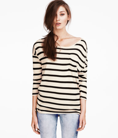 Top - pattern: horizontal stripes, striped; predominant colour: black; occasions: casual, work; length: standard; style: top; neckline: scoop; fibres: polyester/polyamide - 100%; fit: body skimming; sleeve length: 3/4 length; sleeve style: standard; pattern type: fabric; pattern size: light/subtle; texture group: jersey - stretchy/drapey; season: s/s 2013