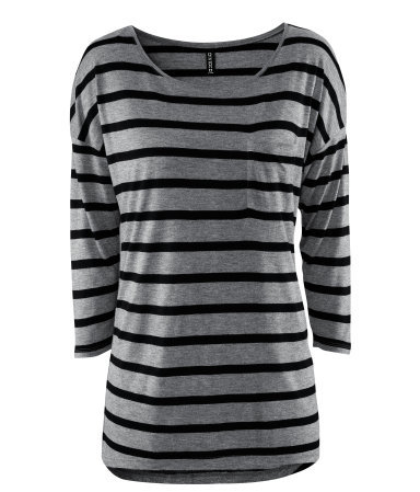 Top - pattern: horizontal stripes, striped; style: t-shirt; bust detail: pocket detail at bust; predominant colour: mid grey; occasions: casual, work; length: standard; fibres: polyester/polyamide - 100%; fit: body skimming; neckline: crew; sleeve length: 3/4 length; sleeve style: standard; trends: striking stripes; pattern type: fabric; pattern size: standard; texture group: jersey - stretchy/drapey; season: s/s 2013