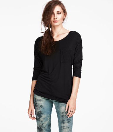 Top - neckline: round neck; pattern: plain; predominant colour: black; occasions: casual; length: standard; style: top; fibres: polyester/polyamide - 100%; fit: loose; sleeve length: 3/4 length; sleeve style: standard; pattern type: fabric; texture group: jersey - stretchy/drapey; season: s/s 2013