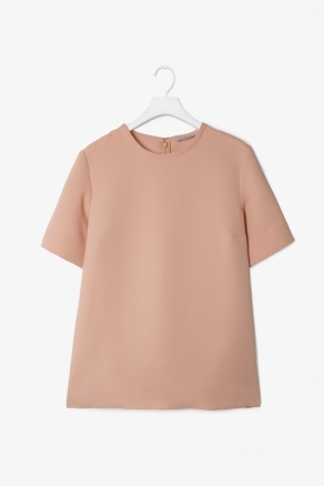 Short Sleeved Crepe Top - pattern: plain; predominant colour: nude; occasions: casual, work; length: standard; style: top; fibres: polyester/polyamide - 100%; fit: straight cut; neckline: crew; sleeve length: short sleeve; sleeve style: standard; texture group: crepes; pattern type: fabric; season: s/s 2013