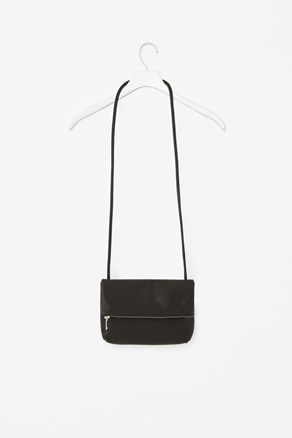 Leather Folded Bag - predominant colour: black; occasions: casual, creative work; type of pattern: small; style: shoulder; length: across body/long; size: small; material: leather; embellishment: zips; pattern: plain; finish: plain; season: s/s 2013