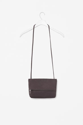 Leather Folded Bag - predominant colour: aubergine; occasions: casual, creative work; type of pattern: standard; style: shoulder; length: across body/long; size: small; material: leather; embellishment: zips; pattern: plain; finish: plain; season: s/s 2013
