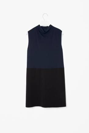 Block Colour Knit Dress - style: shift; length: mid thigh; neckline: cowl/draped neck; pattern: plain; sleeve style: sleeveless; predominant colour: navy; occasions: casual, evening, work; fit: straight cut; fibres: polyester/polyamide - 100%; sleeve length: sleeveless; texture group: knits/crochet; trends: glamorous day shifts; pattern type: fabric; pattern size: standard; season: s/s 2013