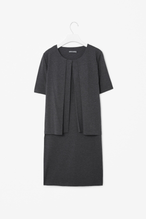 Pleat Layer Dress - style: shift; neckline: round neck; pattern: plain; predominant colour: charcoal; occasions: casual, evening, work; length: just above the knee; fit: straight cut; fibres: cotton - mix; sleeve length: short sleeve; sleeve style: standard; trends: glamorous day shifts; pattern type: fabric; pattern size: standard; texture group: jersey - stretchy/drapey; season: s/s 2013