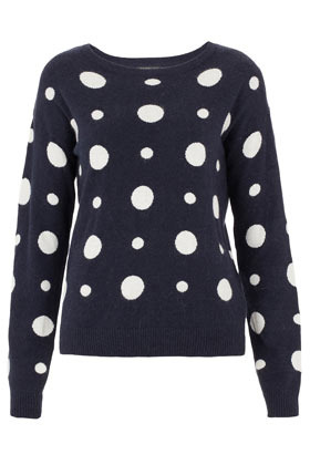 Tall Spot Jacquard Sweat - neckline: round neck; pattern: polka dot; predominant colour: navy; occasions: casual, work; length: standard; style: top; fibres: polyester/polyamide - stretch; fit: straight cut; sleeve length: long sleeve; sleeve style: standard; texture group: knits/crochet; pattern type: fabric; pattern size: standard; season: s/s 2013