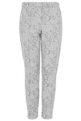 Bonded Lace Cigarette Trousers - pocket detail: small back pockets, pockets at the sides; waist: mid/regular rise; predominant colour: mid grey; occasions: casual, evening, work, occasion; length: ankle length; fibres: cotton - mix; texture group: lace; fit: slim leg; pattern type: fabric; pattern: patterned/print; style: standard; season: s/s 2013; pattern size: light/subtle (bottom)