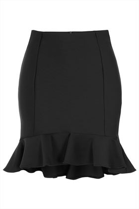Black Ruffle Hem Skirt - length: mid thigh; pattern: plain; style: ruffled; fit: tailored/fitted; waist: high rise; hip detail: draws attention to hips; predominant colour: black; occasions: evening, work; fibres: polyester/polyamide - stretch; pattern type: fabric; texture group: other - stretchy; season: s/s 2013; pattern size: standard (bottom)