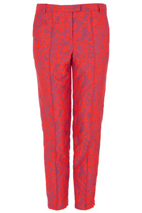 Fluro Lace Jacquard Trousers - pocket detail: small back pockets, pockets at the sides; waist: mid/regular rise; predominant colour: hot pink; occasions: casual, evening, work, occasion; length: ankle length; fibres: cotton - mix; texture group: lace; trends: fluorescent; fit: slim leg; pattern type: fabric; pattern: patterned/print; style: standard; season: s/s 2013; pattern size: light/subtle (bottom)