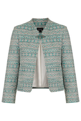 Aztec Notch Neck Jacket - style: boxy; collar: standard lapel/rever collar; predominant colour: pistachio; occasions: casual, evening, work, occasion; length: standard; fit: straight cut (boxy); fibres: cotton - mix; sleeve length: long sleeve; sleeve style: standard; texture group: cotton feel fabrics; collar break: high; pattern type: fabric; pattern size: standard; pattern: patterned/print; season: s/s 2013