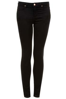 Moto Black Skinny Leigh Jeans - style: skinny leg; length: standard; pattern: plain; pocket detail: traditional 5 pocket; waist: mid/regular rise; predominant colour: black; occasions: casual, evening; fibres: cotton - stretch; texture group: denim; pattern type: fabric; season: s/s 2013