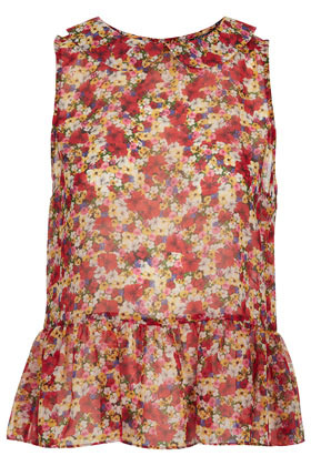 Sleeveless Pansy Print Peplum Top - neckline: shirt collar/peter pan/zip with opening; sleeve style: sleeveless; waist detail: peplum waist detail; predominant colour: true red; occasions: casual, evening, work; length: standard; style: top; fibres: polyester/polyamide - 100%; fit: body skimming; sleeve length: sleeveless; trends: high impact florals; pattern type: fabric; pattern size: standard; pattern: florals; texture group: other - light to midweight; season: s/s 2013