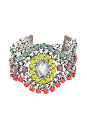 City Lights Oval Stone Bracelet - occasions: casual, evening, occasion, holiday; predominant colour: multicoloured; style: cuff; size: large/oversized; material: chain/metal; trends: fluorescent; finish: fluorescent; embellishment: jewels/stone; season: s/s 2013; multicoloured: multicoloured