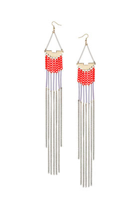 Tube Chain Drape Earrings - predominant colour: silver; occasions: evening, occasion, holiday; style: drop; length: extra long; size: large/oversized; material: chain/metal; fastening: pierced; trends: fluorescent; finish: fluorescent; embellishment: chain/metal; season: s/s 2013