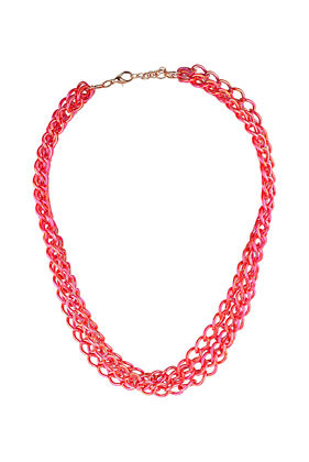 City Lights Multirow Necklace - predominant colour: hot pink; occasions: casual, evening, work; length: short; size: large/oversized; material: chain/metal; finish: metallic; embellishment: chain/metal; style: bib/statement; season: s/s 2013