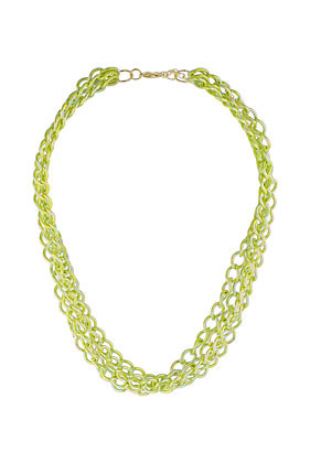 City Lights Multirow Necklace - predominant colour: lime; occasions: casual, evening, work; length: mid; size: large/oversized; material: chain/metal; finish: metallic; embellishment: chain/metal; style: bib/statement; season: s/s 2013