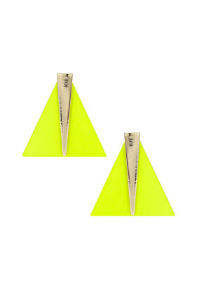 Triangle Shard Drop Earrings - predominant colour: yellow; occasions: casual, evening, work, occasion; style: drop; length: mid; size: standard; material: chain/metal; fastening: pierced; trends: fluorescent; finish: fluorescent; season: s/s 2013