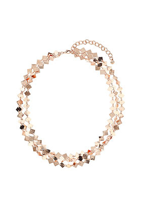 Metal Diamond Multirow Collar - predominant colour: gold; occasions: casual, evening, work, occasion; length: short; size: large/oversized; material: chain/metal; finish: metallic; embellishment: chain/metal; style: bib/statement; season: s/s 2013