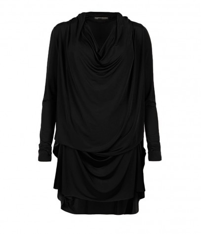 Amei Long Sleeved Dress - style: t-shirt; length: mid thigh; neckline: cowl/draped neck; fit: loose; pattern: plain; predominant colour: black; occasions: casual, evening, occasion, creative work; fibres: viscose/rayon - stretch; sleeve length: long sleeve; sleeve style: standard; texture group: jersey - stretchy/drapey; season: s/s 2013