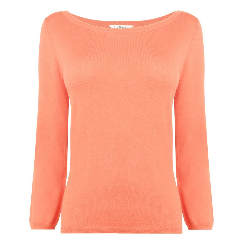 Regan Knitted Top, Peach - neckline: slash/boat neckline; pattern: plain; predominant colour: coral; occasions: casual, work; length: standard; style: top; fibres: silk - mix; fit: body skimming; sleeve length: 3/4 length; sleeve style: standard; texture group: knits/crochet; pattern type: knitted - other; season: s/s 2013