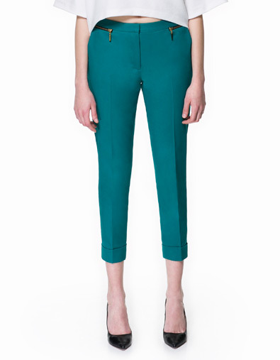 Cropped Trousers - pattern: plain; style: capri; pocket detail: small back pockets, pockets at the sides; waist: mid/regular rise; predominant colour: teal; occasions: casual, evening, work, holiday; length: calf length; fibres: cotton - stretch; jeans & bottoms detail: turn ups; fit: slim leg; pattern type: fabric; texture group: other - light to midweight; season: s/s 2013