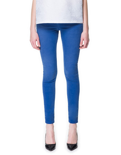 Jeans - style: skinny leg; pattern: plain; pocket detail: traditional 5 pocket; waist: mid/regular rise; predominant colour: royal blue; occasions: casual, holiday; length: ankle length; fibres: cotton - stretch; texture group: denim; pattern type: fabric; season: s/s 2013