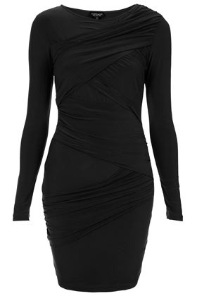 Wrap Panel Bodycon Dress - length: mid thigh; neckline: round neck; fit: tight; pattern: plain; style: bodycon; waist detail: fitted waist; bust detail: ruching/gathering/draping/layers/pintuck pleats at bust; predominant colour: black; occasions: casual, evening; fibres: polyester/polyamide - stretch; sleeve length: long sleeve; sleeve style: standard; texture group: jersey - clingy; pattern type: fabric; season: s/s 2013