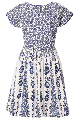 Vine Border Sun Dress - neckline: round neck; style: sundress; waist detail: fitted waist; predominant colour: royal blue; occasions: casual, evening; length: just above the knee; fit: fitted at waist & bust; fibres: cotton - 100%; hip detail: adds bulk at the hips; sleeve length: short sleeve; sleeve style: standard; texture group: cotton feel fabrics; trends: high impact florals; pattern type: fabric; pattern size: standard; pattern: florals; season: s/s 2013