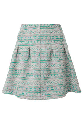 Aztec Stitch Skirt - length: mid thigh; fit: tailored/fitted; waist: mid/regular rise; predominant colour: pale blue; occasions: casual, evening, work, occasion; style: a-line; fibres: cotton - mix; pattern type: fabric; pattern: patterned/print; texture group: brocade/jacquard; season: s/s 2013; pattern size: standard (bottom)