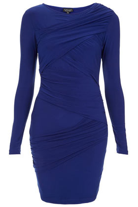 Wrap Panel Bodycon Dress - length: mid thigh; neckline: round neck; fit: tight; pattern: plain; style: bodycon; waist detail: flattering waist detail; bust detail: subtle bust detail; predominant colour: royal blue; occasions: casual, evening, occasion; fibres: polyester/polyamide - stretch; sleeve length: long sleeve; sleeve style: standard; texture group: jersey - clingy; pattern type: fabric; season: s/s 2013